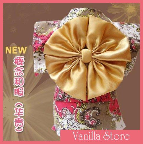 Cute Japan Kimono Style Gold Dog Clothes Apparel