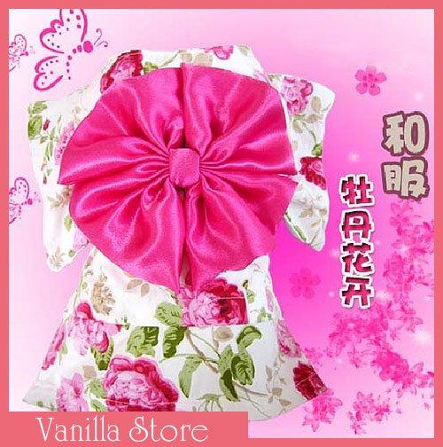 Cute Japan Kimono Style Peony Dog Clothes Apparel