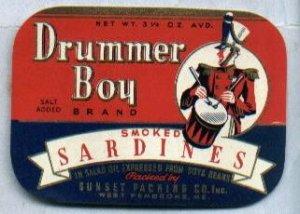 Drummer Boy Smoked Sardines Can Advertising Label