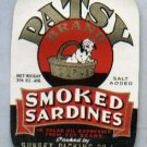 Patsy Brand Smoked Sardines Can Advertising Label