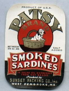 Patsy Brand Smoked Sardines Can Advertising Label