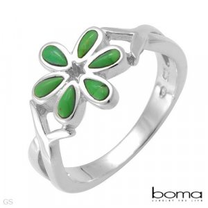 BOMA Elegant and Beautiful Ring With Genuine Turquoises Crafted in Sterling silver- Size 7