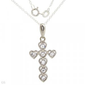 Stylish Necklace With Genuine Crystals Crafted in 925 Sterling silver Length 18in