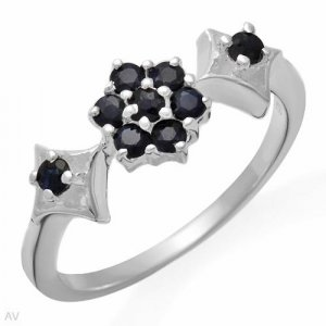 Elegant Ring With Genuine Sapphires/Sterling silver- Size 7 RETAIL $99