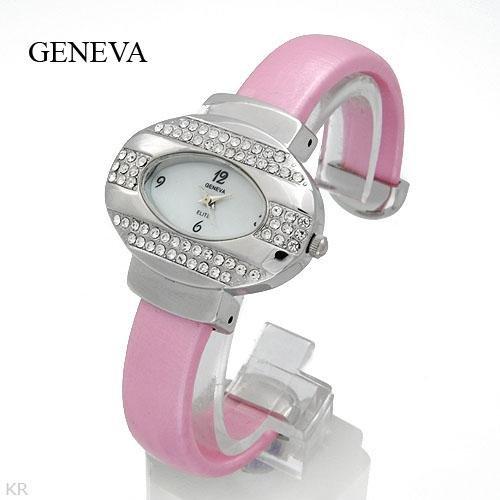Pink Geneva Watch, Genuine crystals