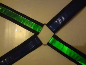 Rave Suspenders - Blue and Green (Criss Cross)