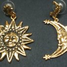 18 karat golden coated sun and moon  earrings