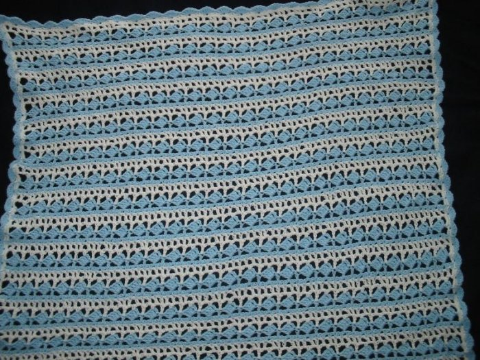 New Handmade Slanted Shell Baby Afghan, Blue & White, 46 x 50 in., 100% Acrylic, Machine wash