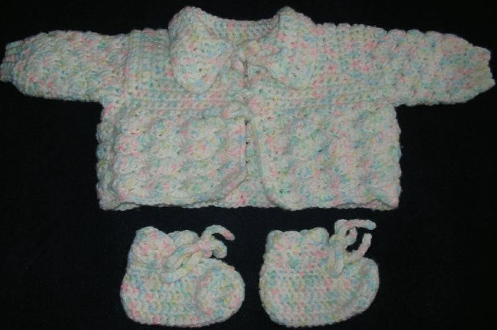 New Hand Crocheted Baby Sweater - Color: Citrus Multi (Item # IS0001) Approx. size 3 months