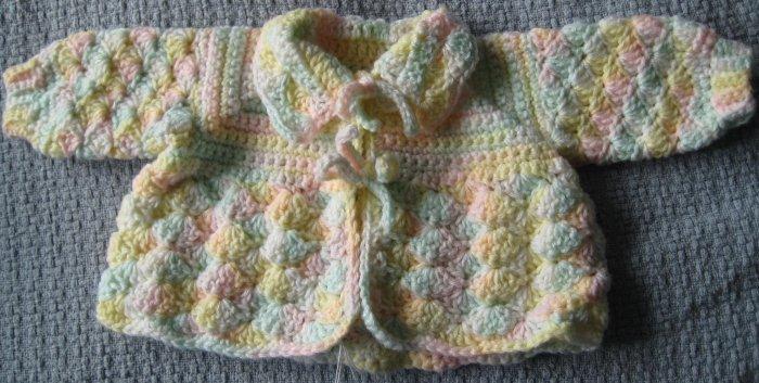 New Hand Crocheted Baby Sweater - White/yellow/green/pink pastels (Item # IS0002) - approx. 3 months