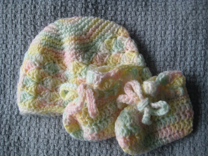 New Hand Crocheted Baby Booties - white/yellow/green/pink (Item # IB0003) Matches IH0001 & IS0002