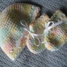 New Hand Crocheted Baby Hat - white/yellow/green/pink (Item # IH0002) 100% Acrylic, Matches IB0004
