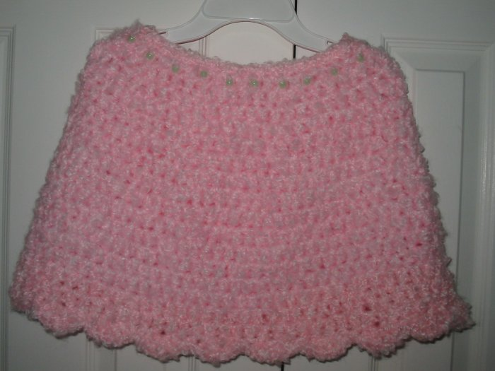 New Hand Crocheted Girls Capelet Pink size 8-12 (item # PC0011) 100% Acrylic, Machine wash