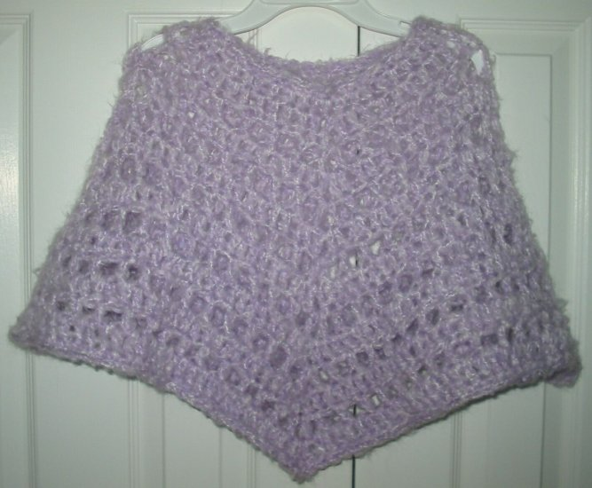 New Hand Crocheted Girls Lavender Poncho size 6-8 (item # PC0012)
