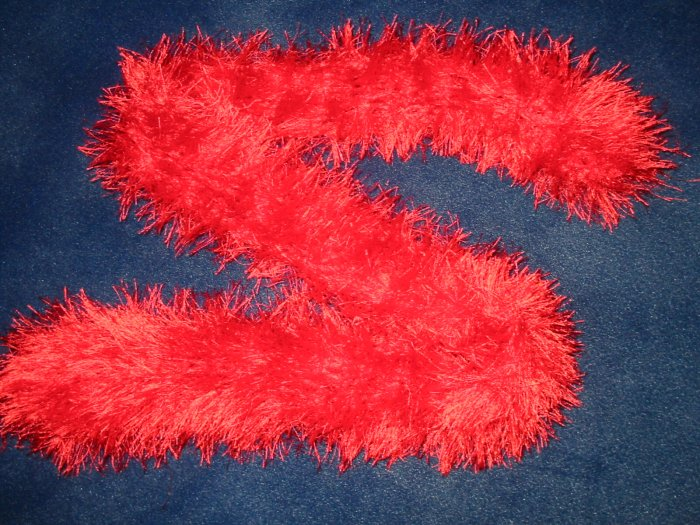 New Hand Crocheted Fun Fur Scarf - red - 48 inches long (item #SS0005)