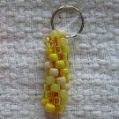 Hand Crocheted Pony Bead Keychain (item # JK0010) - Shades of Yellow and Cream