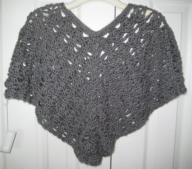 New Hand Crocheted Poncho - Heather Gray - Adult Small (item # PL0005) 100% Acrylic, Machine wash