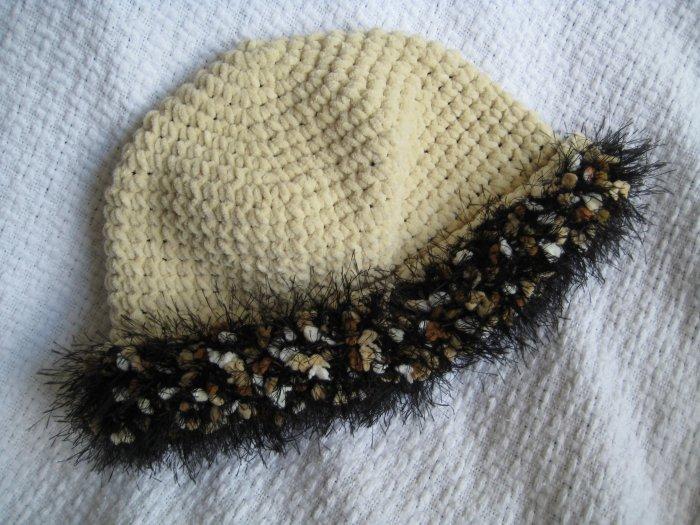 Hand Crocheted Suede Look Hat - Ecru with Fancy Fur Trim (item # SH0011) - Adult Average