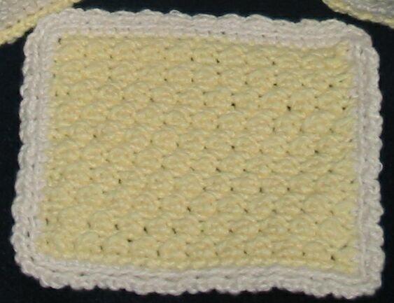 Hand Crocheted Face Cloth (item # HB0006) - Yellow & Cream,  100% Cotton - Machine Wash