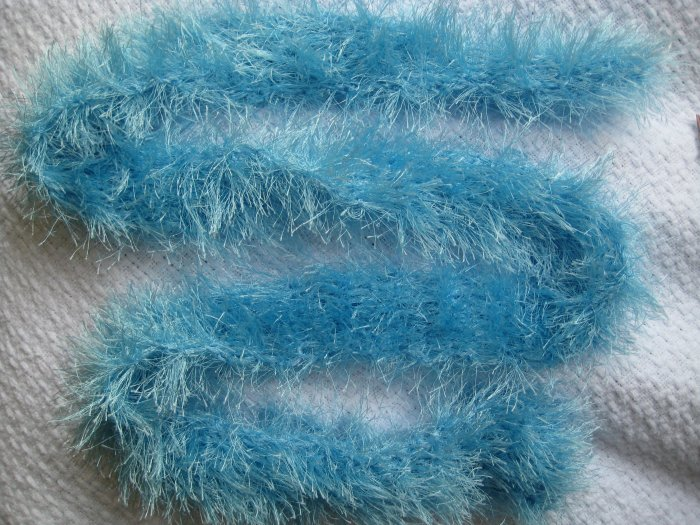 Hand Crocheted Fun Fur Scarf - Lt. Blue - 58 inches long (item #SS0010)