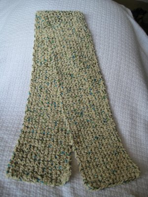 New Hand Crocheted Sparkling Scarf (item #SS0004)  - 48 inches - Ecru with green sparkles
