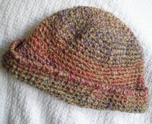 Hand Crocheted Hat - Quartz Homespun (item # SH0016) - Fits Average Adult