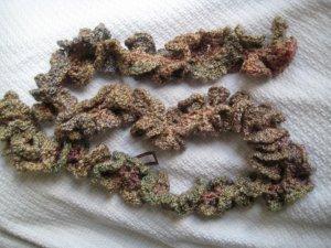 Hand Crocheted Long Ruffled Scarf - Quartz Homespun (item # SS0013)  - 74 inches