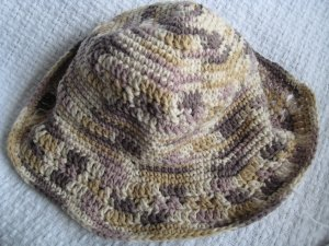 Hand Crocheted Cotton Sun Hat (item # SH0014) - Neutral Ombre - Adult Average