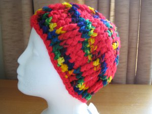 Hand Crocheted Post Stitch Hat - Adult Average (item # SH0009) - 100% Acrylic - Red and Mexicana