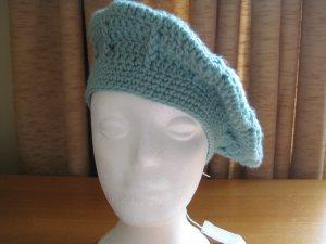 Hand Crocheted Swirl Pattern Beret Hat (item # SH0022) - Soft Sage - Adult Average