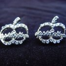 Apple Bottoms Silver Plated Logo Earrings