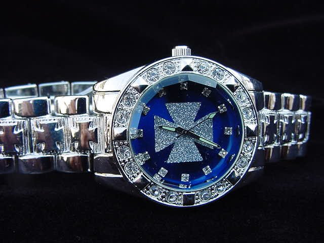 Paved Maltese Cross - blue background Watch