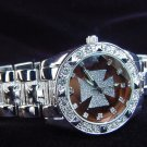 Paved Maltese Cross - bronze background Watch