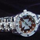 Paved Maltese Cross - bronze background Watch