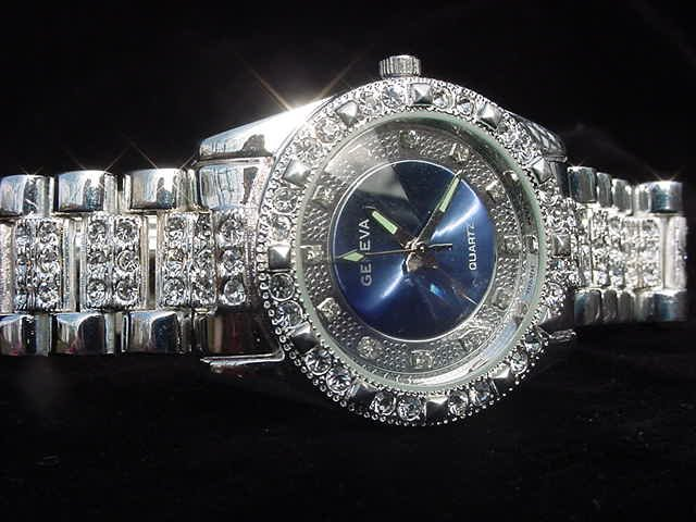 Blue Background Bling Watch