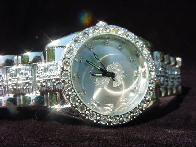 Paved Dollar Sign - silver background Watch