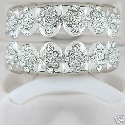 Blingin star rhodium plated playa top and bottom grillz set