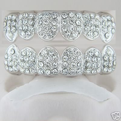 Fullness of ice rhodium plated playa top and bottom grillz set