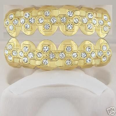 Cross of bling gold plated playa top and bottom grillz set