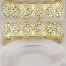 Fifty-four points of ice golden playa top and bottom grillz set