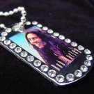 Iced out Bob Marley dog tag pendant with 36 inch chain