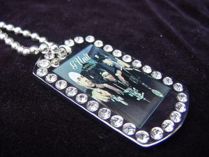 Iced out GUNIT dog tag pendant with 36 inch chain