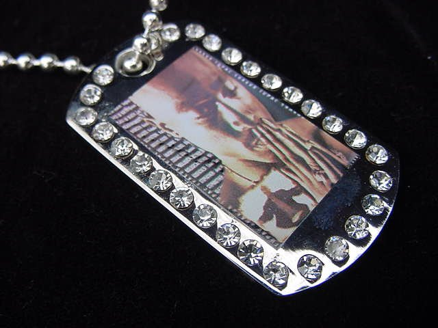 Iced out Tupac dog tag pendant with 36 inch chain