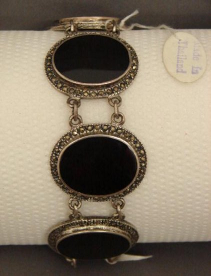 Silver Onyx and Marcasite Link Bracelet