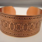 Fabulous Wide Engraved Copper Cuff Bracelet CJ1