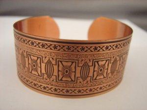 Fabulous Wide Engraved Copper Cuff Bracelet CJ1