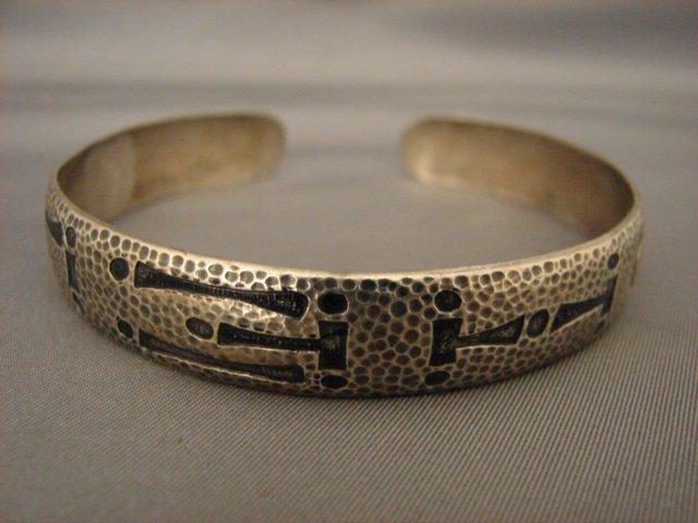 Unusual Sterling Silver Cuff Bracelet Designer Signed