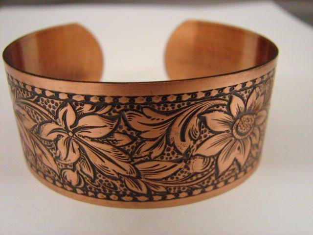 Fabulous Wide Engraved Copper Cuff Bracelet CJ2