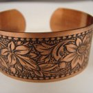 Fabulous Wide Engraved Copper Cuff Bracelet CJ2