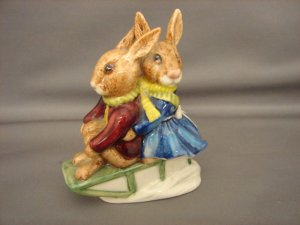Royal Doulton Bunnykins Billie & Buntie Sleigh Ride
